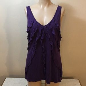Gorgeous Dark Purple Oversized Ruffled Career Tank